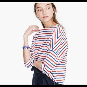 J. CREW Oversized Red and Blue Stripe Top